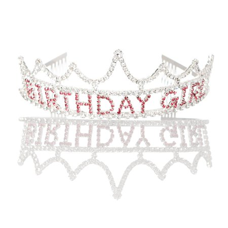 Birthday Tiaras (Ella Celebration Birthday Girl Tiara Party Crown Silver Pink Accessories)
