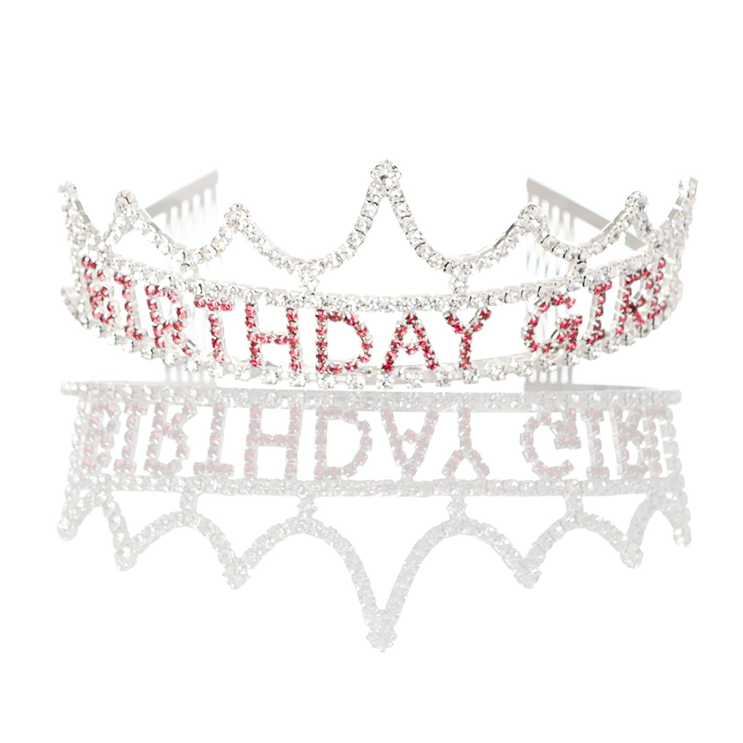 Ella Celebration Birthday Girl Tiara Party Crown Silver Pink Accessories (Tiara)