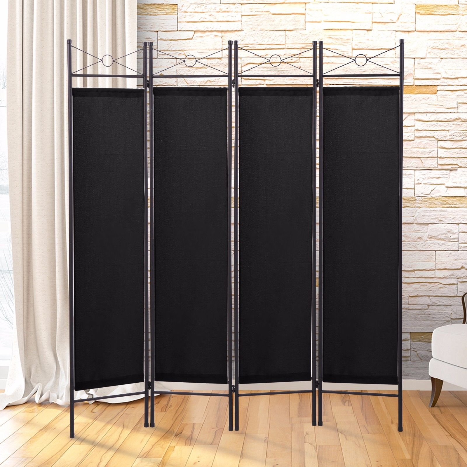 Lazymoon 4 Panel Steel Room Divider Screen Fabric Folding Partition Home  Office Privacy Screen Black