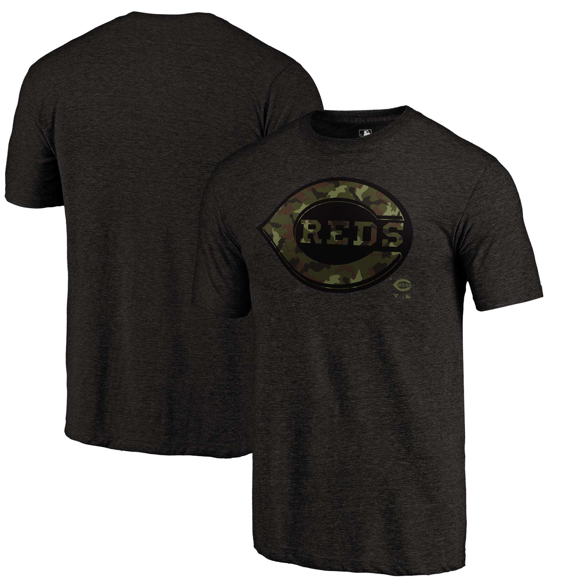 Cincinnati Reds Fanatics Branded 2018 Memorial Day Camo Prestige Tri-Blend T-Shirt - Black