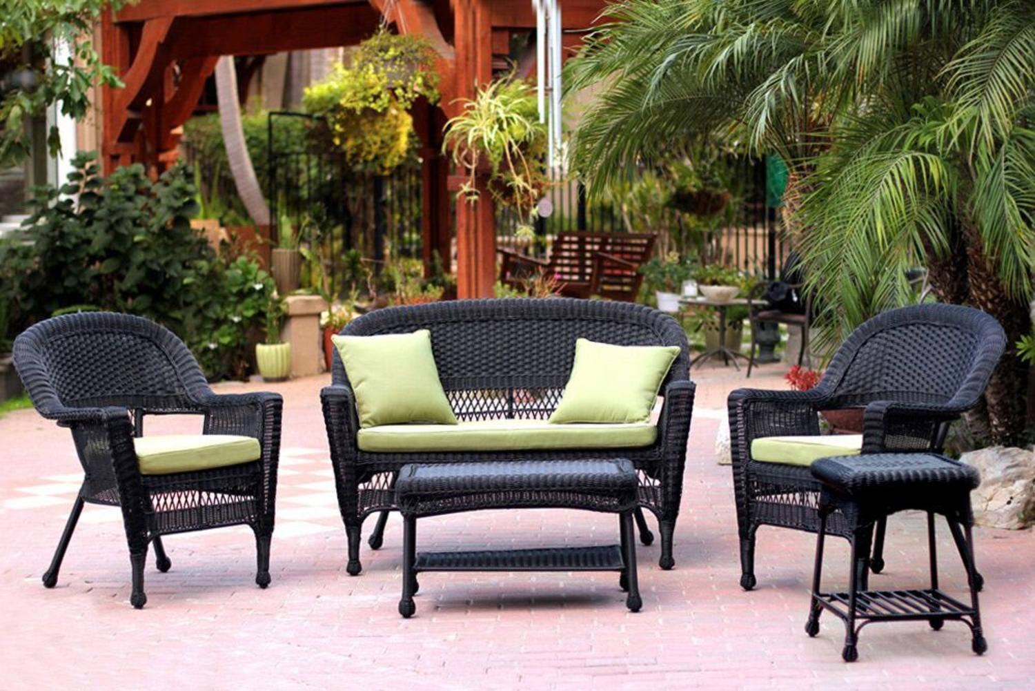 5-Piece Black Resin Wicker Patio Chair, Loveseat & Table Furniture Set Green Cushions by CC Outdoor Living
