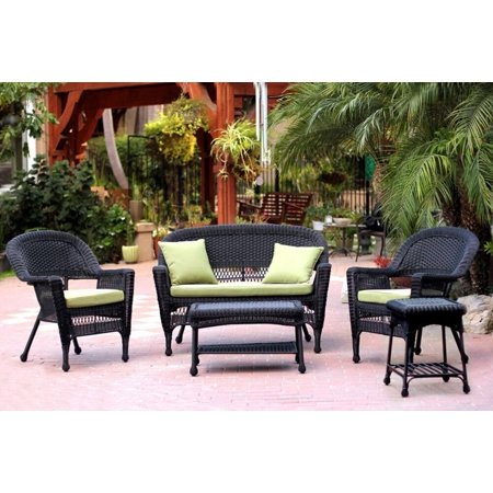 5 piece black resin wicker patio chair loveseat table