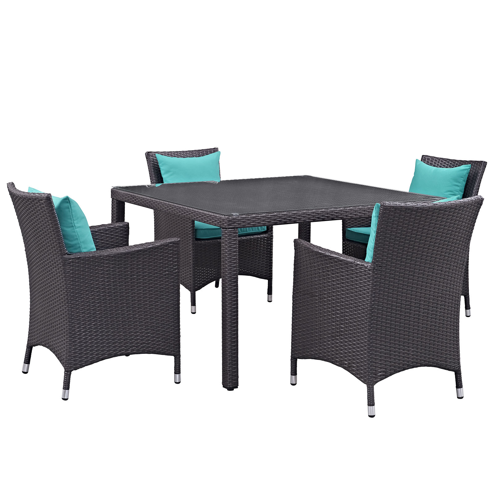 Modern Contemporary Urban Design Outdoor Patio Balcony Five PCS Dining Chairs and Table Set, Blue, Rattan