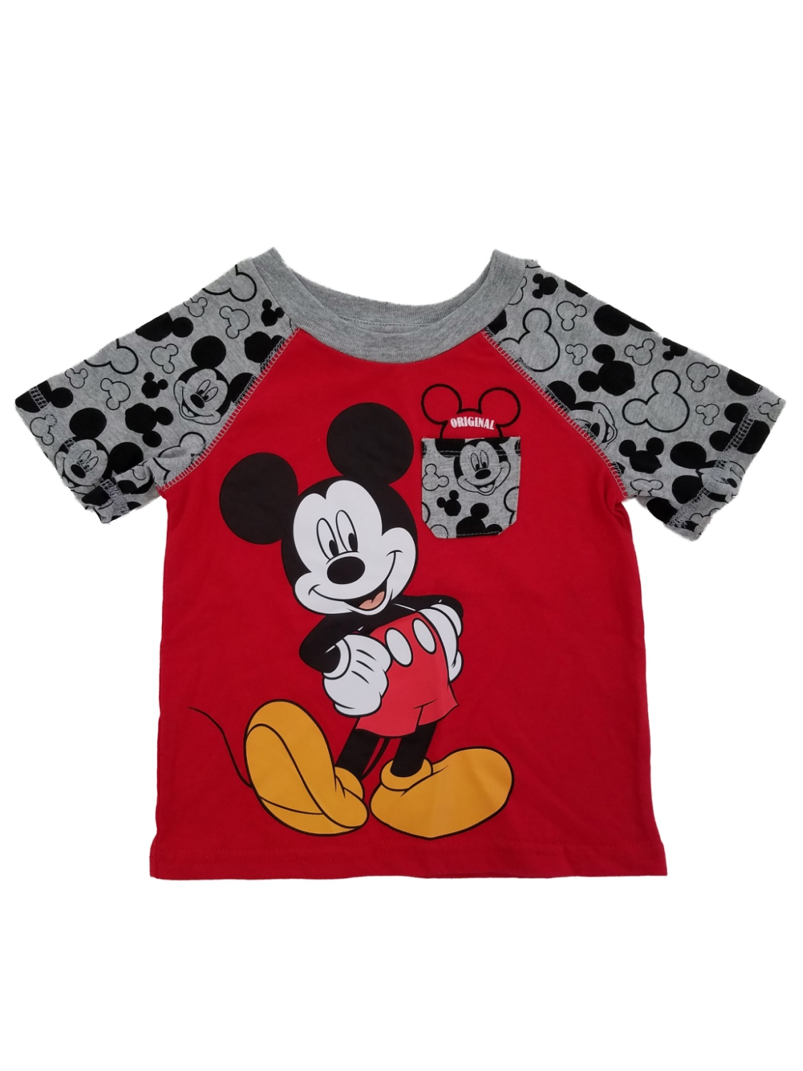 Disney Toddler Boys Red/Gray Original Mickey Mouse Pocket Tee Graphic T-Shirt 2T