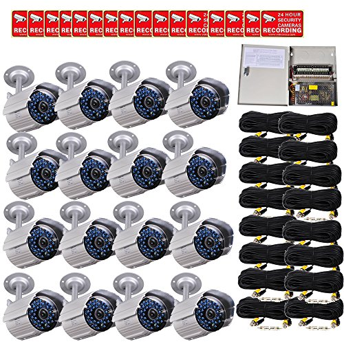 VideoSecu 16 Pack Infrared Day Night Outdoor Bullet Security Cameras 520 TVL 36 IR LEDs Built-in Mechanical IR-Cut filte
