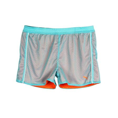 PUMA Big-Girls Two-Tone Mesh Soccer Shorts Blue Orange White Large