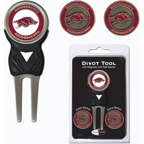 Team Golf NCAA Arkansas Divot Tool Pack With 3 Golf Ball Markers