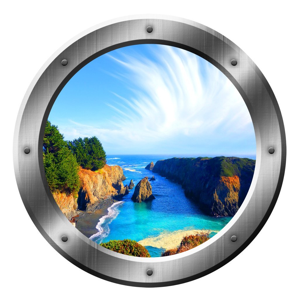 "VWAQ Ocean View Porthole Wall Decal Nature Seaside Decor Sticker Peel and Stick Mural SP12 (20"" Diameter)"