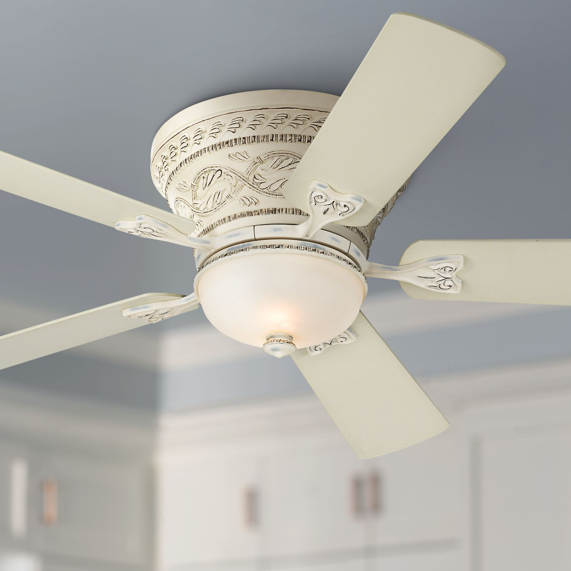 52 Casa Vieja French Hugger Ceiling Fan With Light Led Dimmable Remote Rubbed White Frosted Glass For Living Room Kitchen Bedroom Walmart Com Walmart Com
