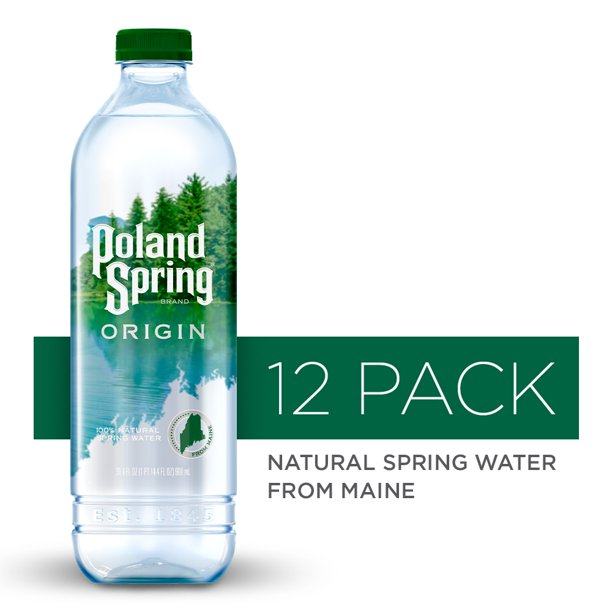 Poland Spring Origin, 100% Natural Spring Water, 900mL recycled plastic bottle, 12-Pack