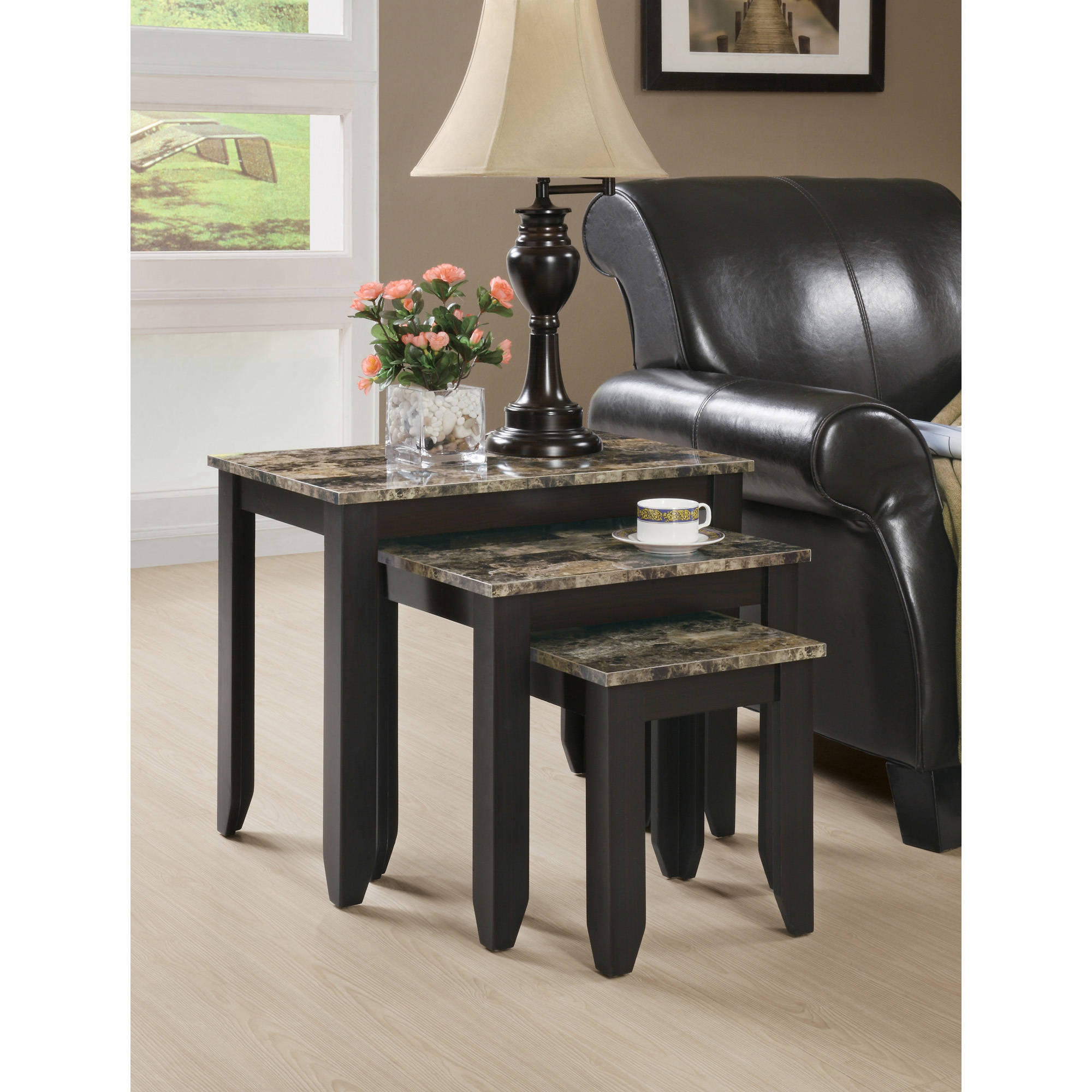 Monarch Nesting Table 3Pcs Set Cappuccino Marble Top Walmart