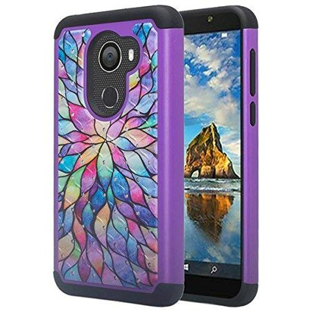 Jitterbug Smart 2 (5.5inch) Case, Bling Shock Proof Hybrid Case with Temper Glass Phone Case Cover - Rainbow ()