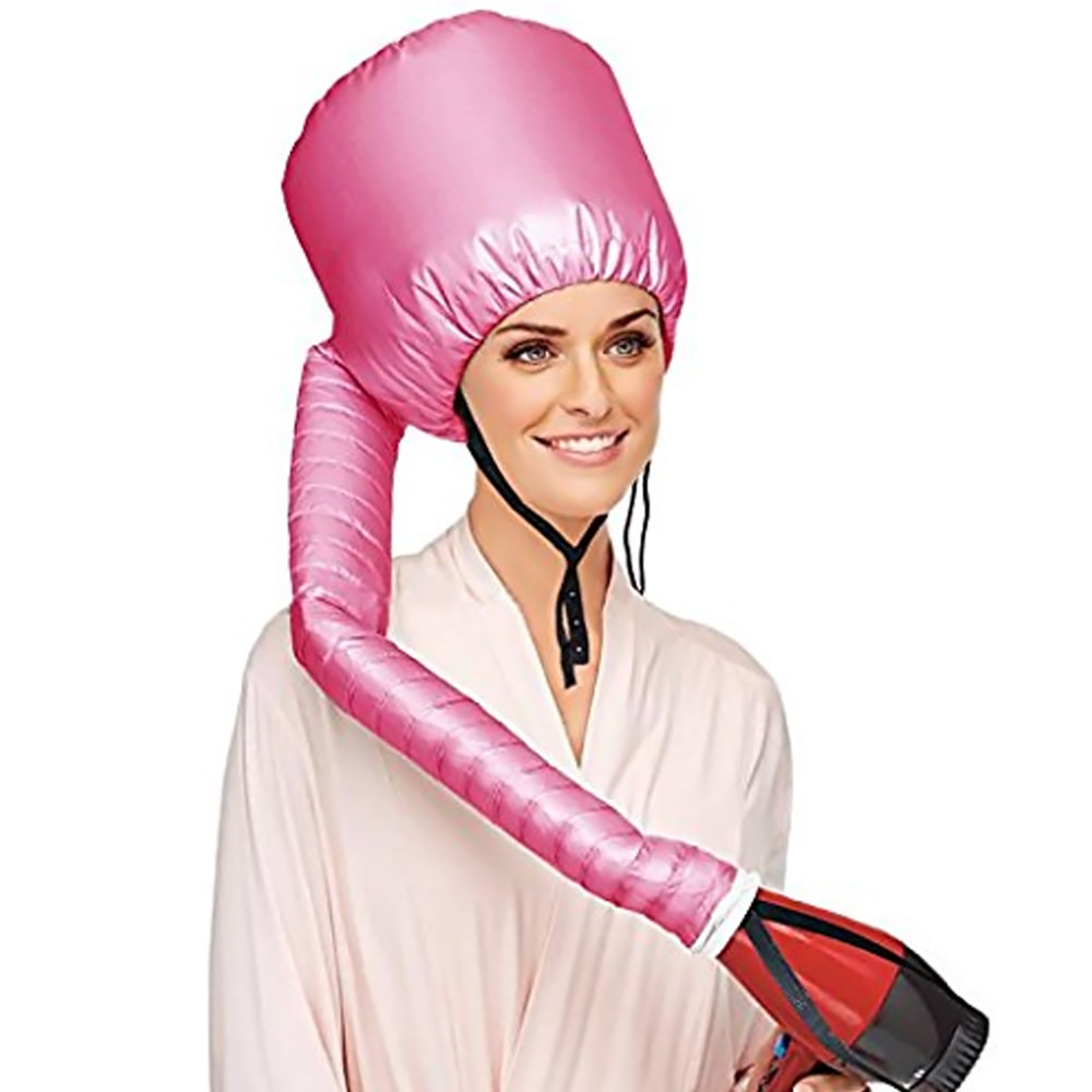 New Women's Healthy Head Fast Drying Softhood Bonnet Hair Dryer Attachment-Pink