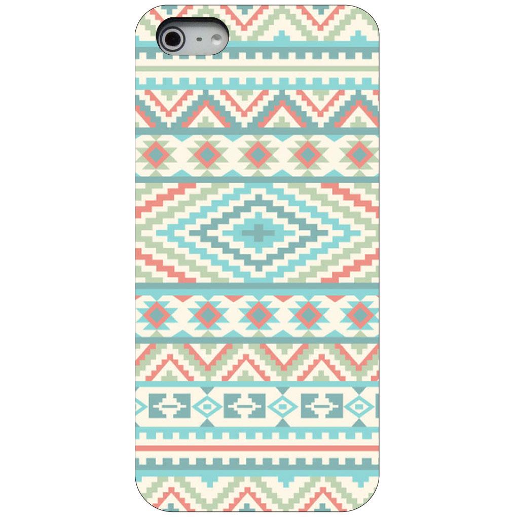 CUSTOM Black Hard Plastic Snap-On Case for Apple iPhone 5 / 5S / SE - Blue Orange White Tribal Print