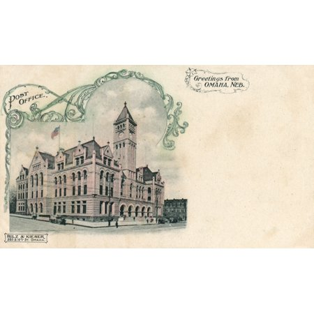 Mary Evans / Grenville Collins Postcard Collection Stretched Canvas Art - The Main Post Office - Omaha, Nebraska, Usa - Large 36 x 24 inch Wall Art Decor Size. - Post Office Hours Omaha