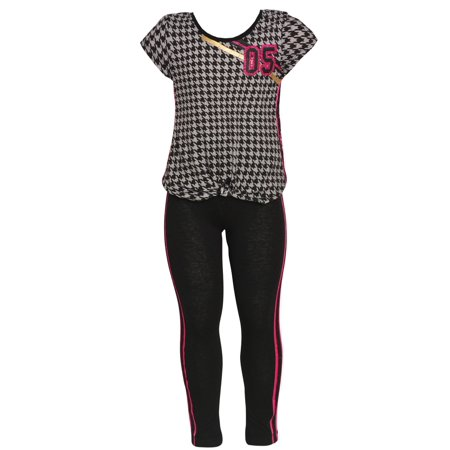 Little Girls Gray Houndstooth Pattern Knot Accent 2 Pc Leggings