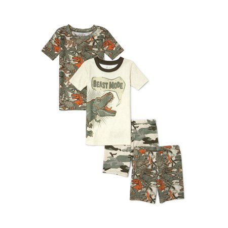 Print Pajama Top - The Children's Place Graphic and print short sleeve tops, and sleep shorts, 4-piece pajama set (little boys & big boys)