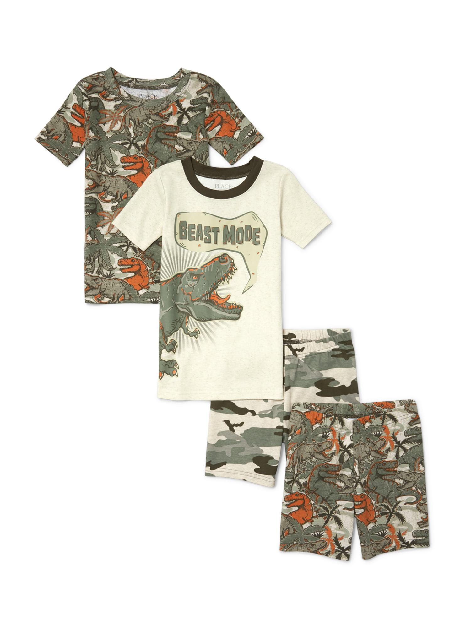 "Boys' ""Beast Mode"" Camo Dino 4 Piece Pajama Slepe Set (Little Boy & Big Boy)"
