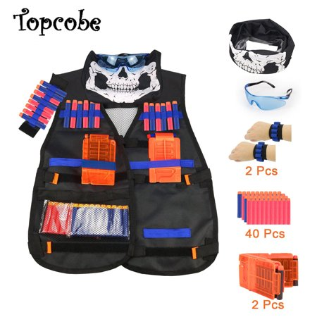 Kids Tactical Vest Kit, Children Elite Tactical Vest Kit For Nerf N-strike Elite Series with Quick Reload Clips + Hand Wrist Band + Protective Glass + Tactical Mask + 40 Refill Bullet Soft Darts ()