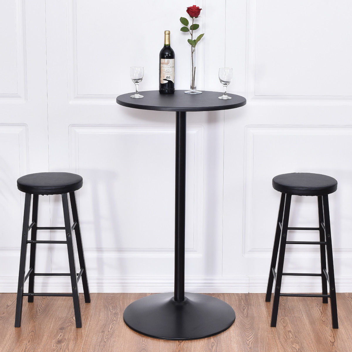 Costway 3pc Round Pub Table 2 Stools Wood Black ,Pub Table Set, Kitchen Dining Furniture by Costway