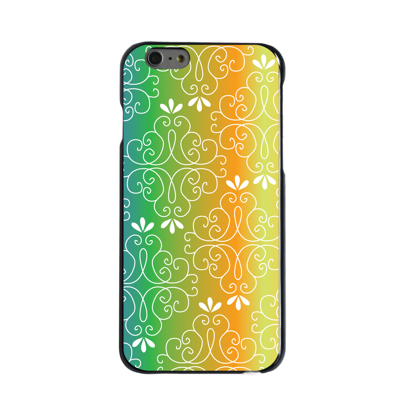 "CUSTOM Black Hard Plastic Snap-On Case for Apple iPhone 7 / iPhone 8 (4.7"" Screen) - Blue Green Orange Yellow Gradient"