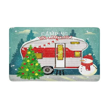 MKHERT Funny Christmas Tree and Snowman in Winter Forest Doormat Rug Home Decor Floor Mat Bath Mat 30x18 inch - Winter Home Decor