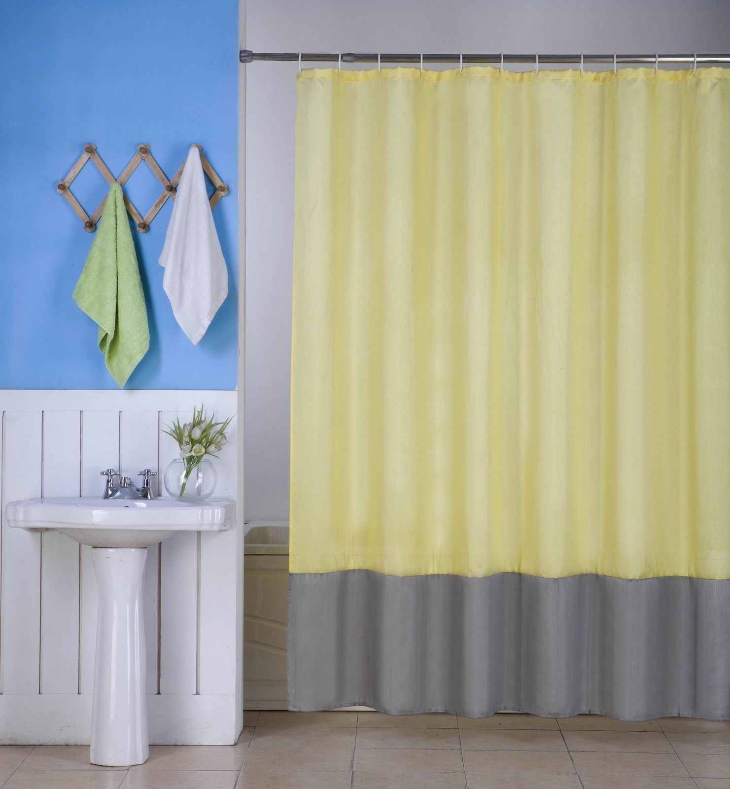 "1PC (H10) YELLOW SILVER FAUX SILK 2 SHADES SOLID BATHROOM  BATH FABRIC SHOWER CURTAIN  WATER REPELLENT 72"" X72"""