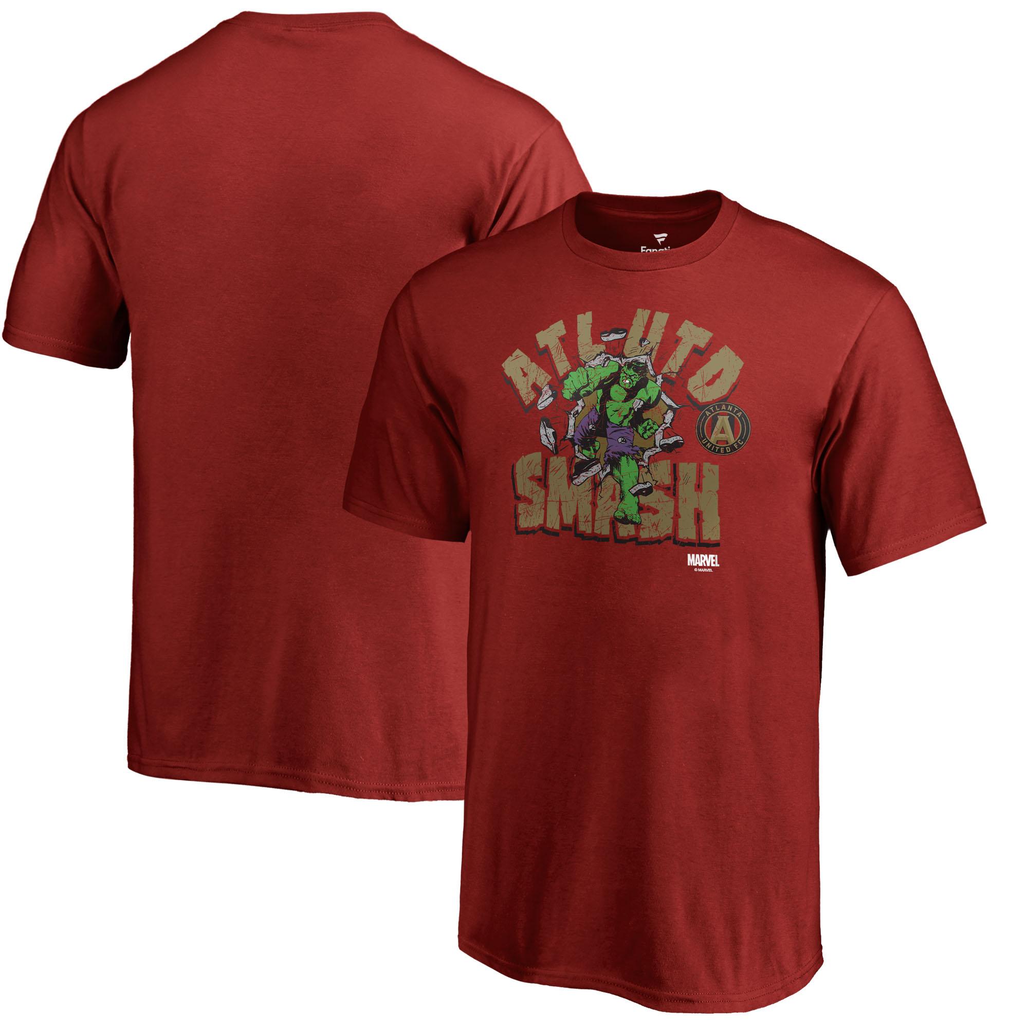 Atlanta United FC Fanatics Branded Youth MLS Marvel Hulk Smash T-Shirt - Cardinal