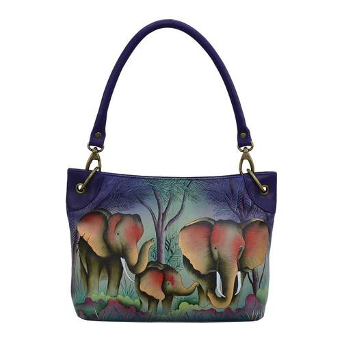 NEW Details about  /ANUSCHKA BUTTERFLY TAN HAND PAINTED LEATHER CONVERTIBLE HOBO PURSE