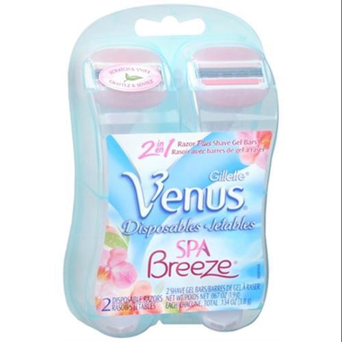 Gillette Venus Spa Breeze 2-in-1 Disposable Razors Plus Shave Gel Bars 2 Each (Pack of 4)