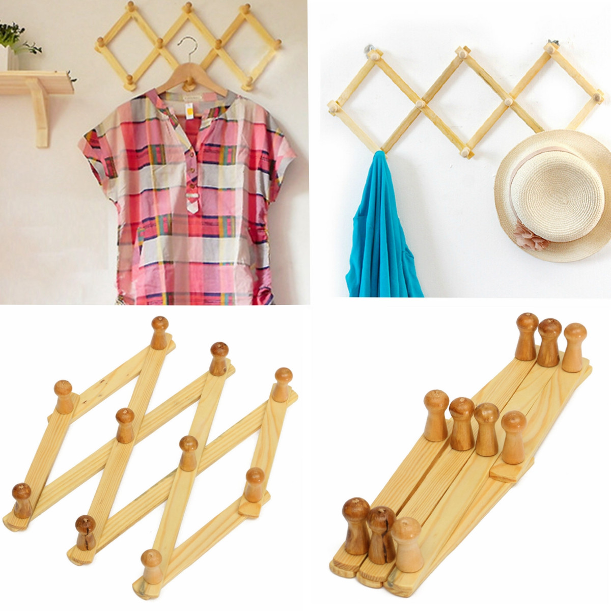 Meigar Expanding Wooden Hanger 10 Peg Expandable Coat Rack Hat Closet Hook Door Folding by Asewin