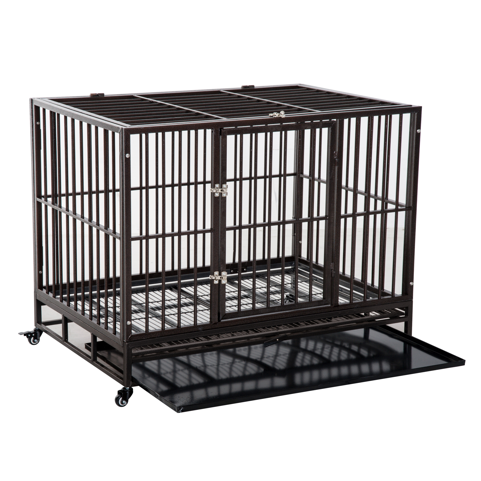 "PawHut 42"" Heavy Duty Steel Dog Crate Kennel Pet Cage w/ Wheels - Brown Vein"