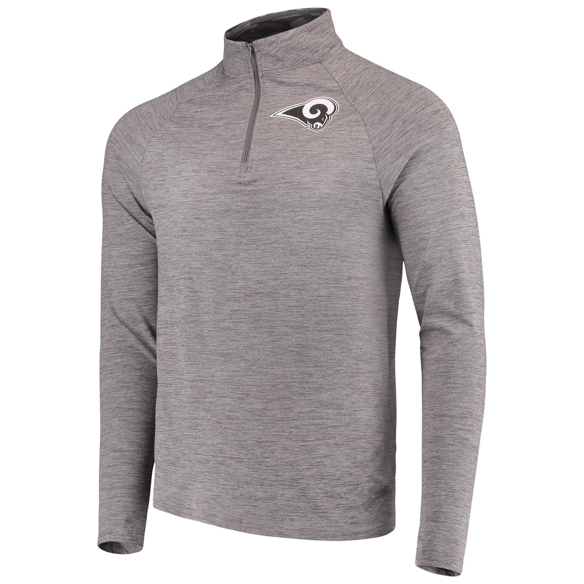 Men's Zubaz Gray Los Angeles Rams Space Dye Quarter-Zip Jacket