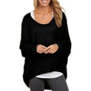 Womens 3/4 Batwing Sleeve Irregular Knit Blouse Comfy Tops