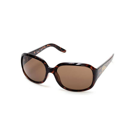 Harley-Davidson Womens Bling Accented Script Sunglasses Dark Havana & Brown Lens, Harley