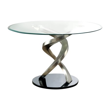 Furniture of America Jacreme Glass Top Round Dining Table, Clear