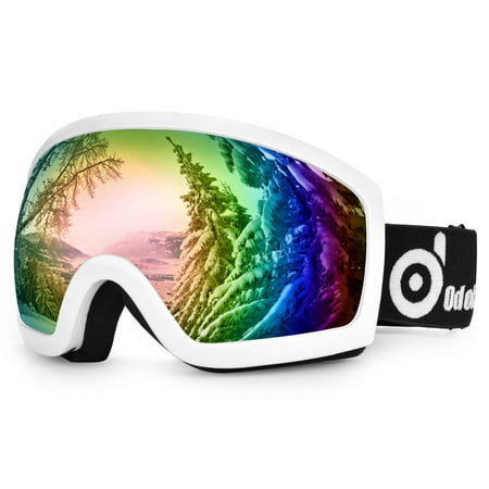 ODOLAND Anti-Fog Ski Goggles Snowboard Goggles for Unisex Adult with Double Spherical Lens-White ()