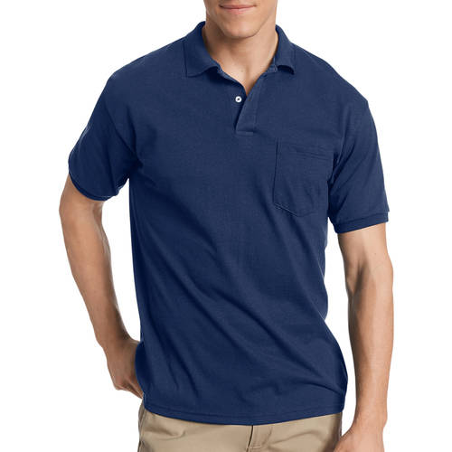 Hanes Mens EcoSmart Soft Jersey Fabric Polo Shirt with Pocket