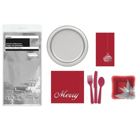 73pc Christmas Party Set For 8, Red and Silver Poinsettia Plates, Napkins (Red Party Plates And Napkins)
