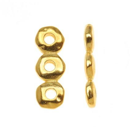 22k gold plated pewter 3-strand nugget spacer bar link 18.5 x 6.5mm -