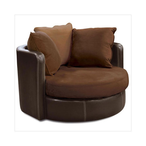 Brookhaven Home Taylor Microfiber Cuddler Chair In Brown