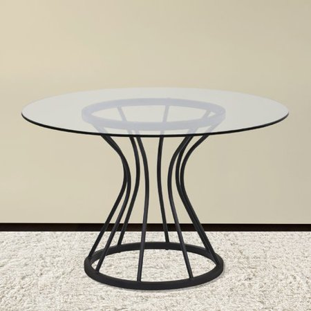 Armen Living Zurich Round Dining Table in Black Finish and 48
