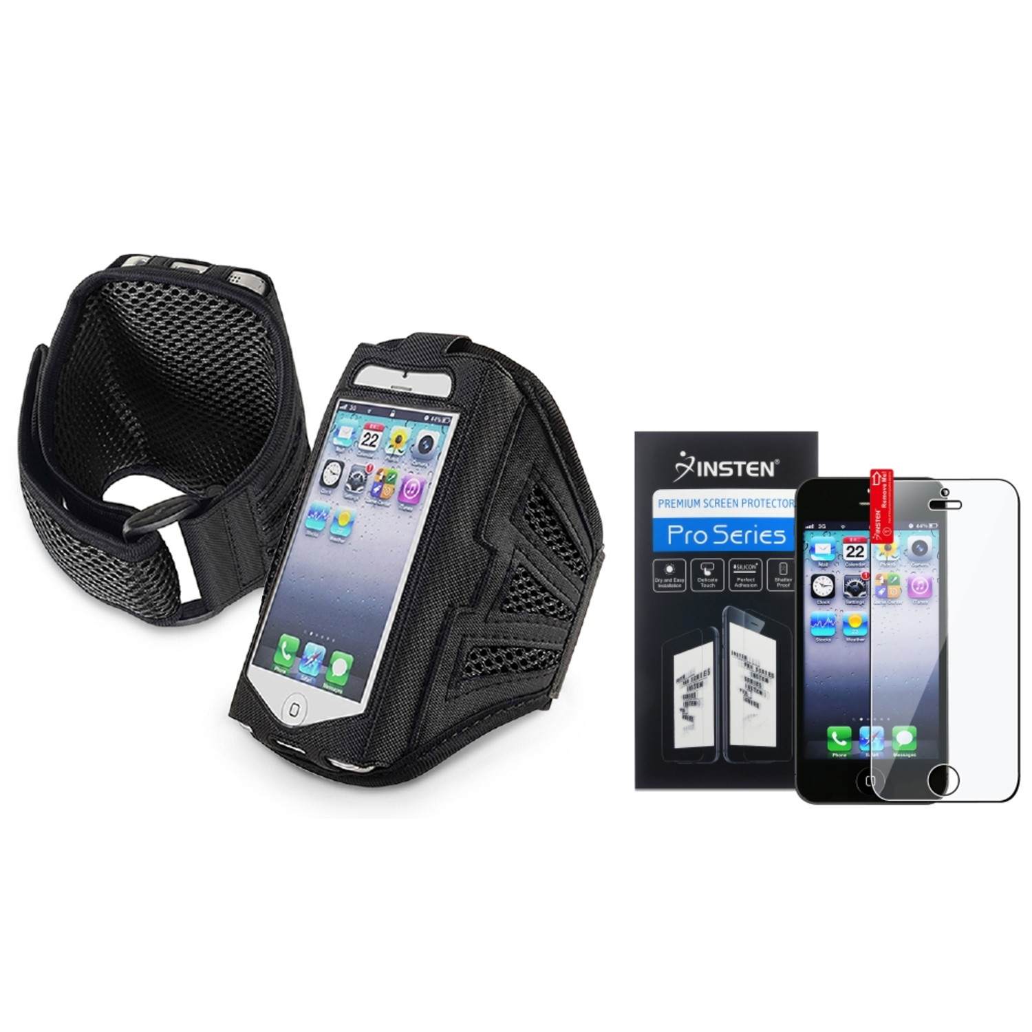 Insten Black/Black Sports Running Armband Gym Case for Apple iPhone SE 5C 5 5G 5s + Screen Protector