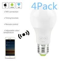Jeobest WiFi Smart Light Bulb - Smart Light Bulb - Smart WiFi Light Bulb - 4Pack 6.5W Wifi Smart LED Light Bulb for Amazon Alexa Google Home Remote Control Voice Controlled Wake Up Smart Lights MZ