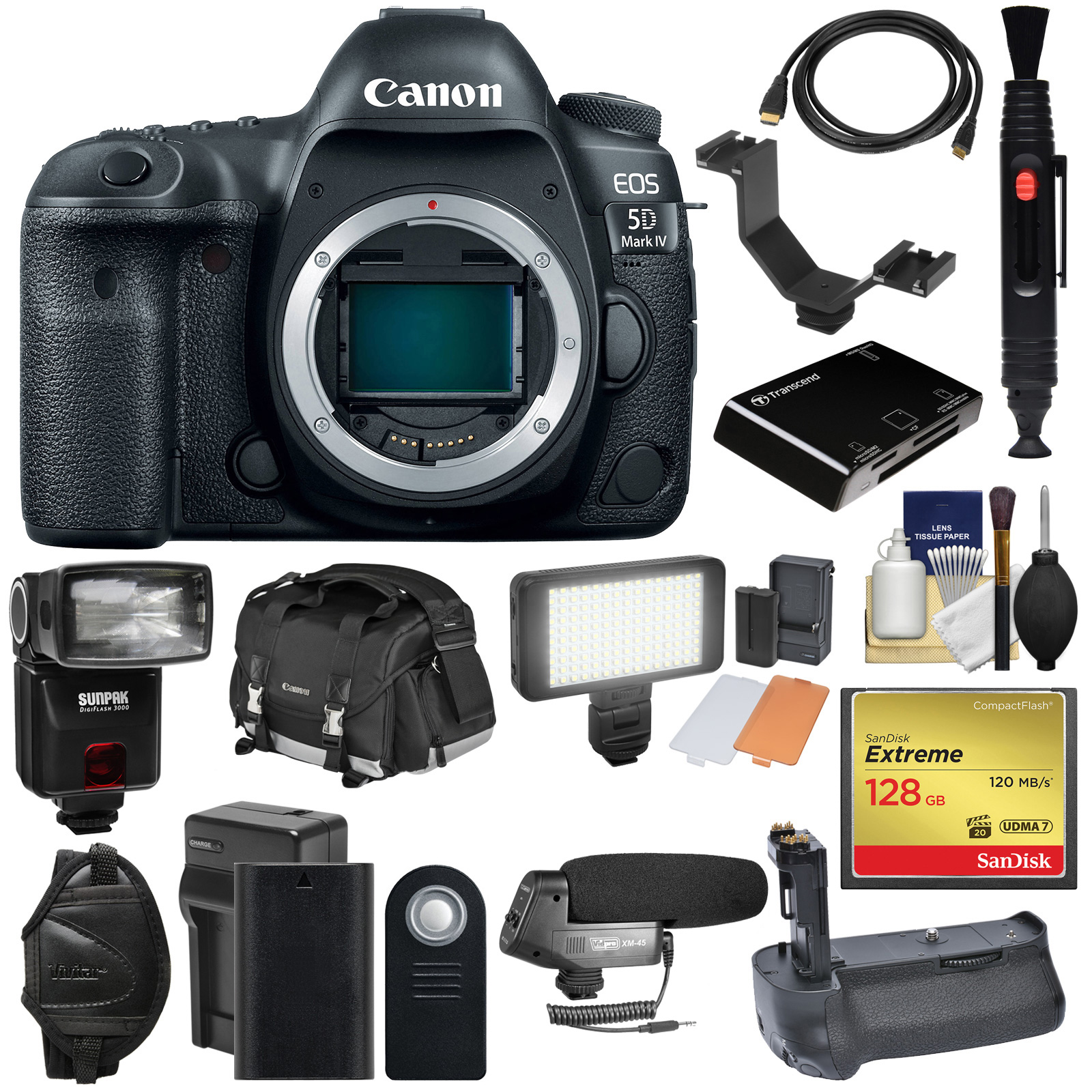 Canon EOS 5D Mark IV 4K Wi-Fi Digital SLR Camera Body with 128GB CF Card + Battery & Charger + Grip + Case + Flash + LED Light + Mic + Kit