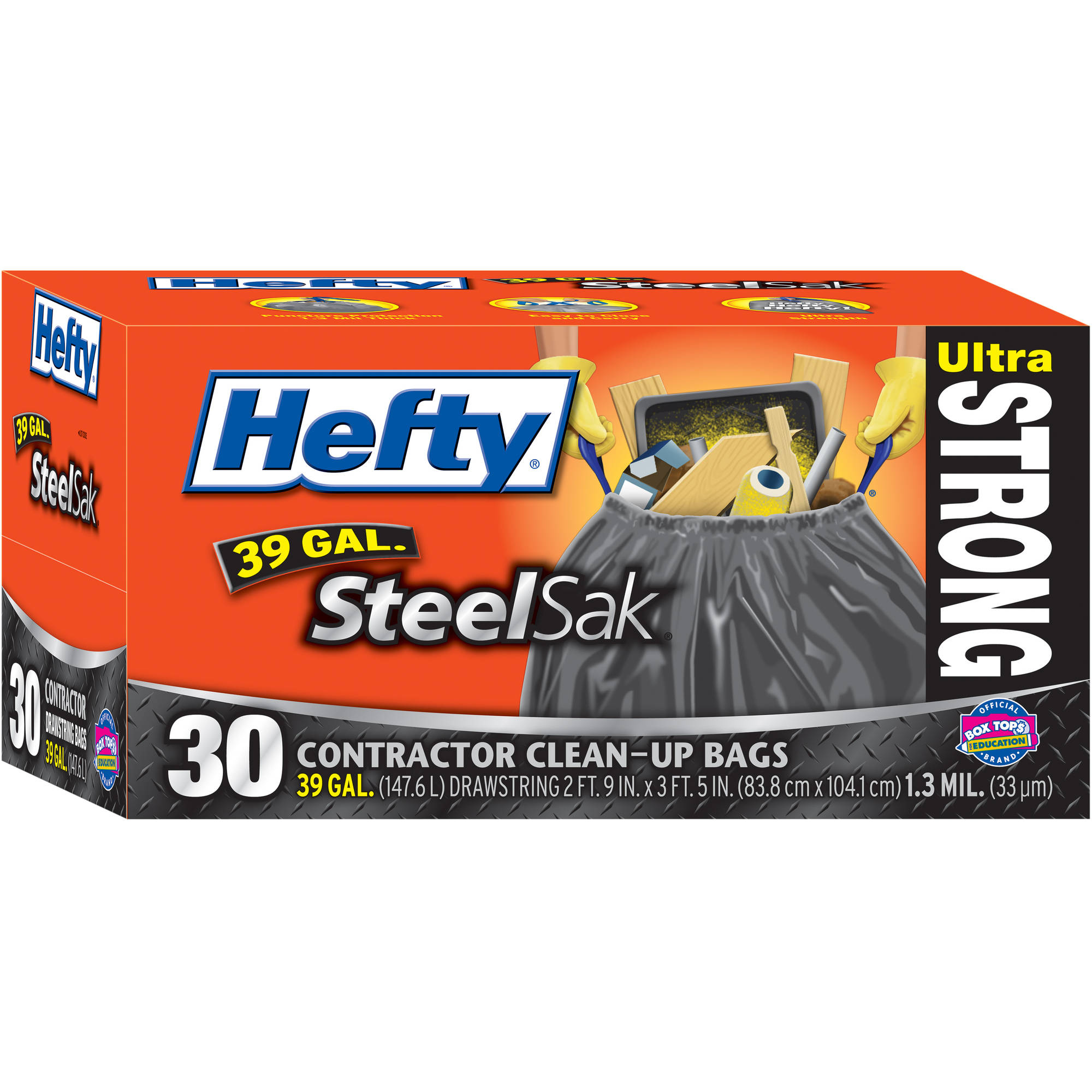 Hefty Steel Sak 39-Gal Trash Bags, 30ct