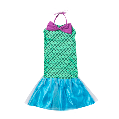 Race Girl Costume (One opening Kid Girl's Halter Bowknot Mermaid Swimsuit Party Cosplay Costume Fancy)