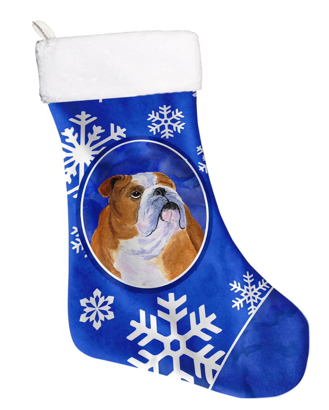 11 x 18 Carolines Treasures SS4629-CS Bulldog English Winter Snowflakes Christmas Stocking Multicolor