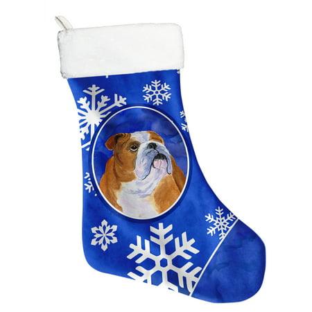 Bulldog Christmas Stocking - Bulldog English Winter Snowflakes Christmas Stocking SS4629