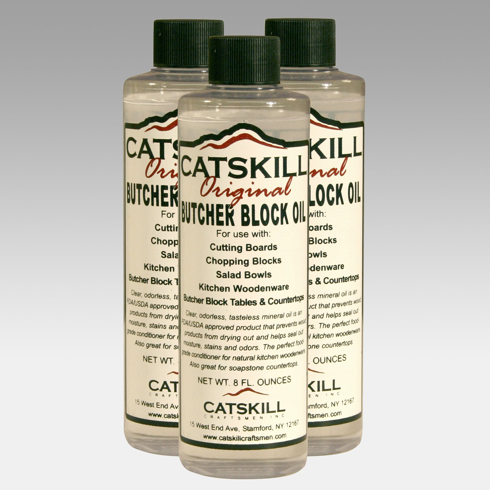 Set of 3 - 8oz Bottles of Butcher Block Oil